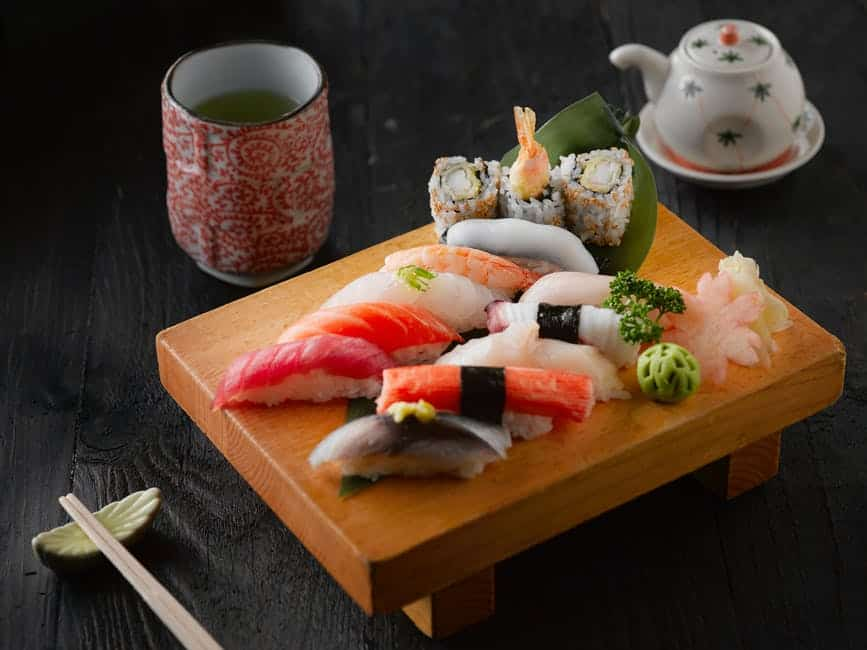 Sushi on a wooden table